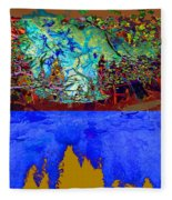 Illusion Of Lake And Forest Fleece Blanket
