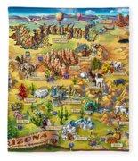Illustrated Map Of Arizona Fleece Blanket