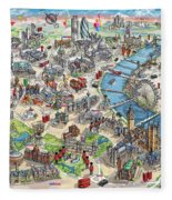 Illustrated Map Of London Fleece Blanket