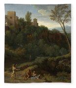 Imaginary Landscape With Buildings In Tivoli Fleece Blanket