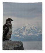 Immature Eagle And Alaskan Mountain Fleece Blanket