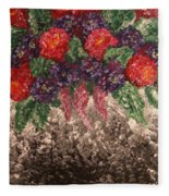 Impression Flowers Fleece Blanket
