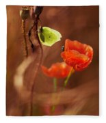 Impression With Red Poppies Fleece Blanket