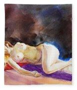 Impressionism Of Reclining Nude Fleece Blanket