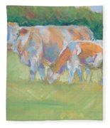 Impressionist Cow Calf Painting Fleece Blanket