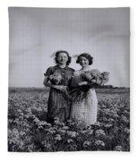 In A Field Of Flowers Vintage Photo Fleece Blanket