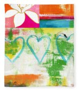 In Bloom- Colorful Heart And Flower Art Fleece Blanket
