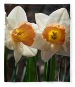 In Conversation - A Couple Of Daffodils Huddled Together Fleece Blanket