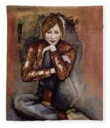In Her World, 2005 Pen & Ink With Oil On Paper Fleece Blanket