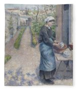In The Garden At Pontoise A Young Woman Fleece Blanket
