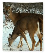 In The Snow At Sunset Fleece Blanket