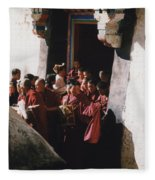 In Tibet Tibetan Monks 5 By Jrr Fleece Blanket