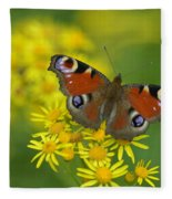 Inachis Io Butterfly On The Yellow Flowers Fleece Blanket