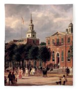 Independence Hall In Philadelphia Fleece Blanket