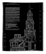 Independence Hall Transverse Section - Philadelphia Fleece Blanket