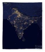 India At Night Satellite Image Fleece Blanket