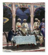 India  British Colonial Era  Banquet At The Palace Of Rais In Mynere Fleece Blanket