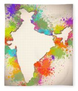 India Watercolor Map Painting Fleece Blanket