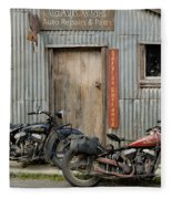 Indian Chout And Chief Bobber At The Old Okains Bay Garage Fleece Blanket