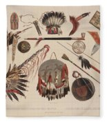 Indian Implements And Arms Fleece Blanket
