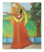 Indian Lady Playing Ancient Musical Instrument Fleece Blanket