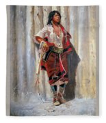 Indian Maid At Stockade By Charles Marion Russell Fleece Blanket