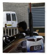 Indian Man Enjoying In A Bumper Cars Ride In An Entertainment Park Fleece Blanket