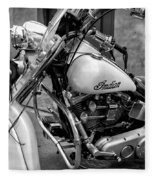 Indian Motorcycle In French Quarter-bw Fleece Blanket
