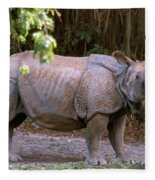 Indian Rhinoceros Fleece Blanket