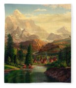 Indian Village Trapper Western Mountain Landscape Oil Painting - Native Americans -square Format Fleece Blanket