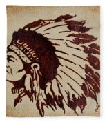 Indian Wise Chief Coffee Painting Fleece Blanket