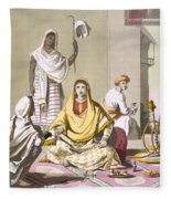 Indian Woman In Her Finery, With Guests Fleece Blanket