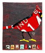 Indiana Cardinal Bird Recycled Vintage License Plate Art Fleece Blanket