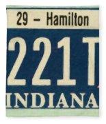 Indiana License Plate Fleece Blanket