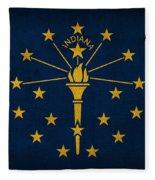 Indiana State Flag Art On Worn Canvas Fleece Blanket by Design Turnpike