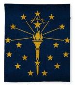 Indiana State Flag Art On Worn Canvas Fleece Blanket