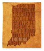 Indiana State Word Art On Canvas Fleece Blanket by Design Turnpike