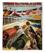 Indianapolis Motor Speedway - Vintage Lithograph Fleece Blanket