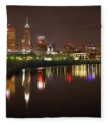 Indianapolis Skyline At Night Indy Downtown Color Panorama Fleece Blanket