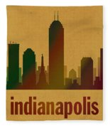 Indianapolis Skyline Watercolor On Parchment Fleece Blanket