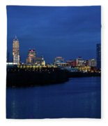 Indianapolis State Capitol And Skyline Fleece Blanket