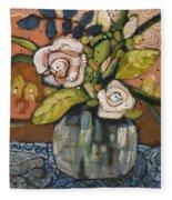 Indigo And Orange Floral Fleece Blanket