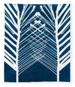 Indigo And White Leaves- Abstract Art Fleece Blanket