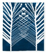 Indigo And White Leaves- Abstract Art Fleece Blanket