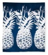 Indigo And White Pineapples Fleece Blanket