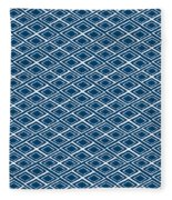 Indigo And White Small Diamonds- Pattern Fleece Blanket