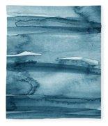 Indigo Water- Abstract Painting Fleece Blanket by Linda Woods