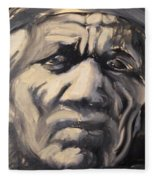 Indio Indian Black And White Oil Painting Fleece Blanket