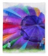 Inflating The Rainbow Hot Air Balloon Photo Art Fleece Blanket