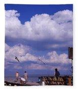 Information Board Of A Pier, Rod Fleece Blanket